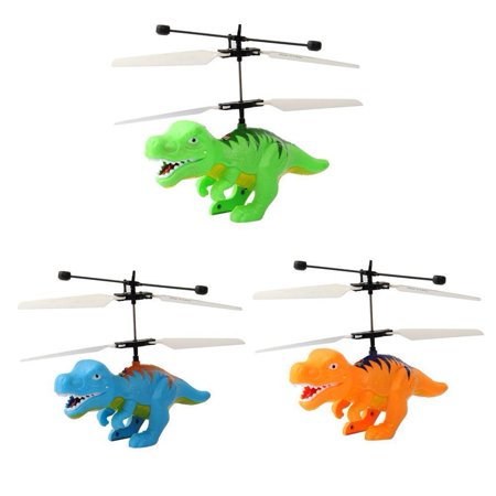 3PC Dinosaurs Model Flying Helicopter Drone Infrared Hand Controlled Game RC (Air Flying Games)