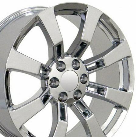 20x8.5 Wheels Fit GM Truck & SUV - Cadillac Escalade Style Chrome Rims, Hollander 5409 - (Escalade Chrome Visor)