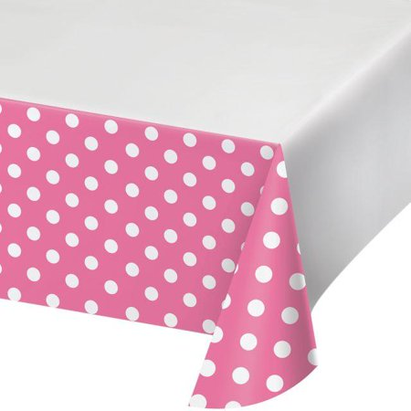 """Creative Converting Dots & Stripes Candy Pink Plastic Tablecover Border Print, 54"""" X 102"""""""