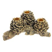 """Set of 2 Antique Gold Country Rustic Pine Cone Taper Candle Holders 9"""""""
