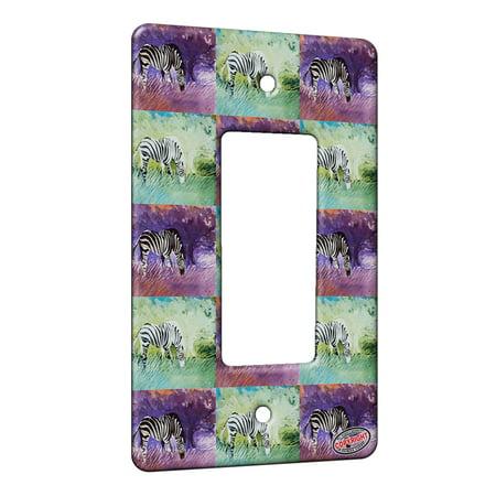 KuzmarK™ 1 Gang Rocker Wall Plate - Zebra at Twilight Equine Pattern Art by Denise Every ()