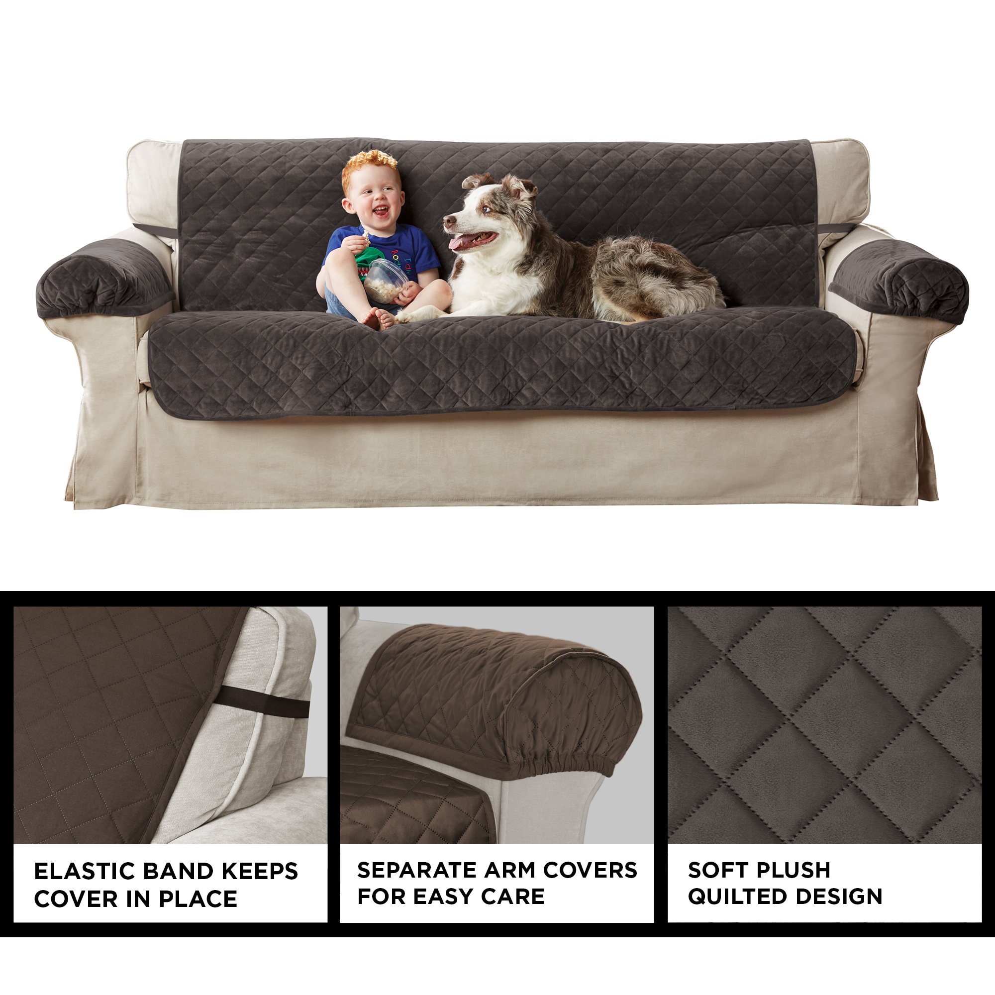 Plush Quilted Furniture Protector Covers with Elastic Straps