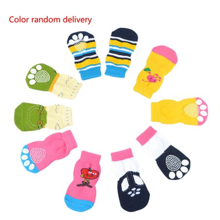 Homeholiday 4pcs Pet Socks Doggie Dog Cat Puppy Colorful Anti Slip Pet Product Supply - image 1 of 7