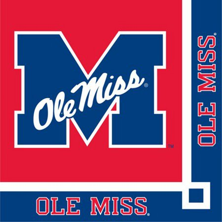 Club Pack of 240 NCAA Ole Miss Rebels 2-Ply Tailgating Party Beverage Napkins - Ole Miss Party Supplies