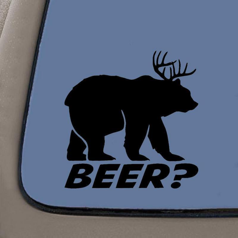 Beer Bear Funny Vinyl Sticker 5 Inch by Cooler