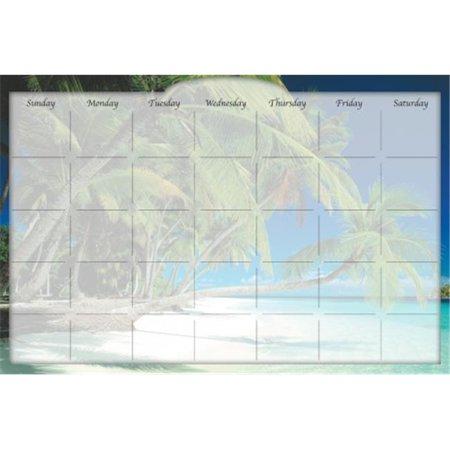 Biggies DC-BHI-36 Dry Erase Stickie Monthly Calendar - Beach Island