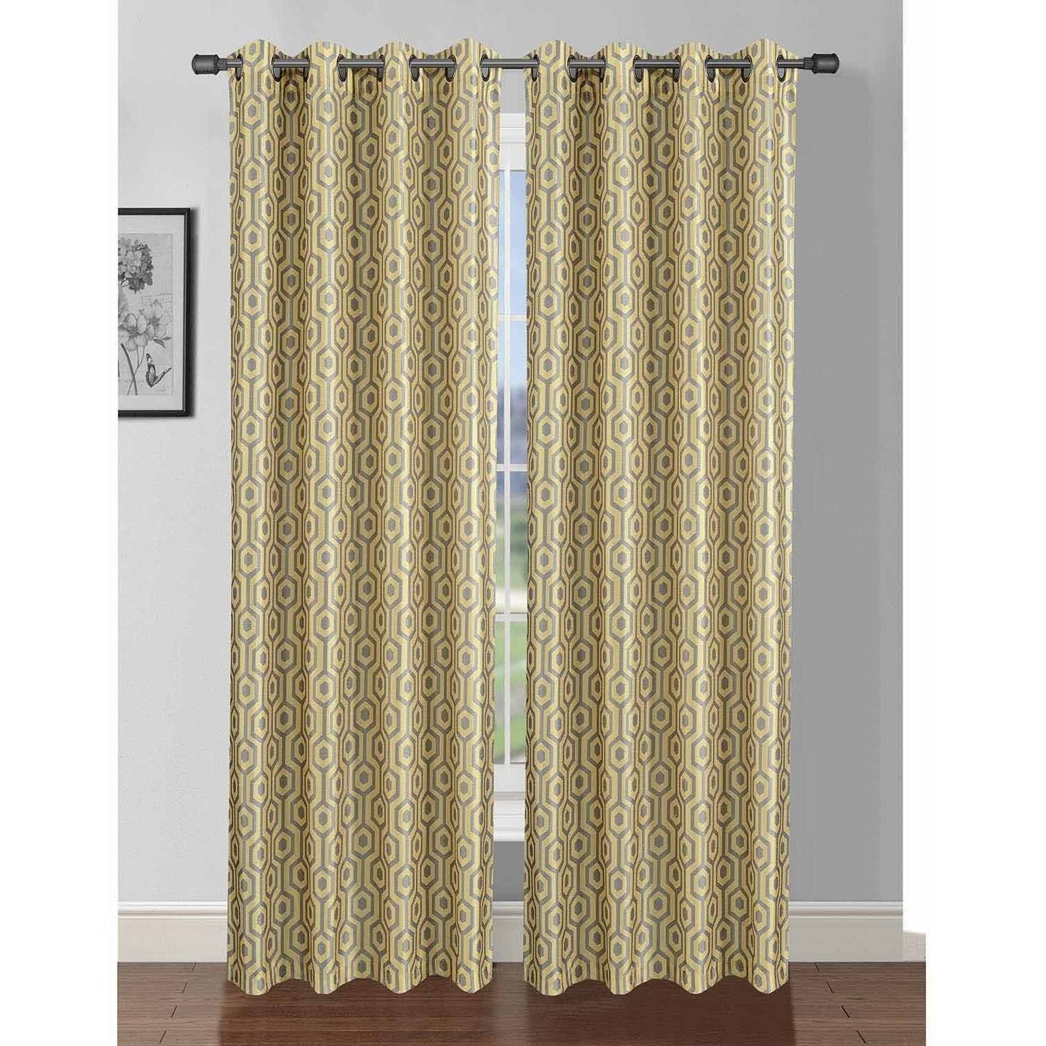 "Camille Printed Faux Silk 76"" x 84"" Grommet Curtain Panel Pair"