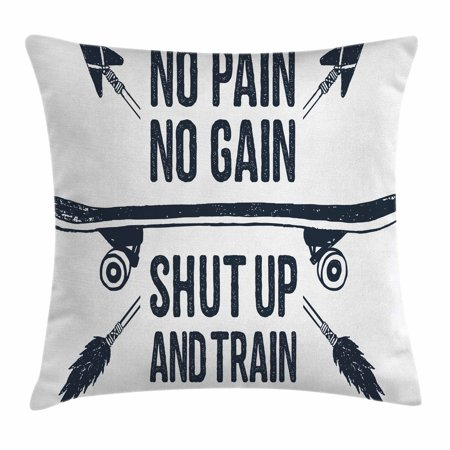 Fitness Throw Pillow Cushion Cover, Hand Drawn 90s Themed Badge with Skateboard Ethnic Boho Style Arrows Phrase, Decorative Square Accent Pillow Case, 18 X 18 Inches, Dark Blue White, by Ambesonne (90s Themed Food)