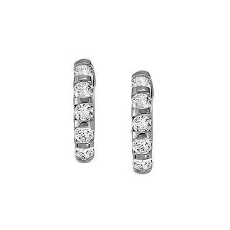 Fine Jewelry Vault Ubner40654w14cz15010 Large Cubic Zirconia Hoop Earrings For Women In Bar With 14k White