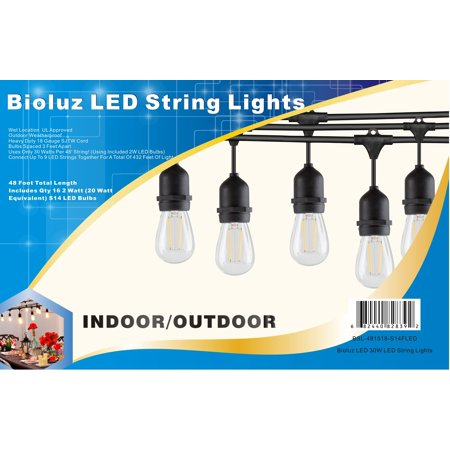 Bioluz LED 48' Outdoor String Lights for Patio Porch Bistro Deck and Garden, 15 Weatherproof Sockets, Includes Vintage LED Bulbs UL (Patio Led Lights)