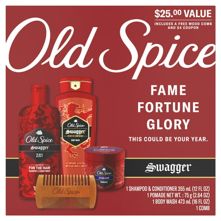 ($25 Value) Old Spice Hair and Body Gift Set, Swagger, 4 Pieces