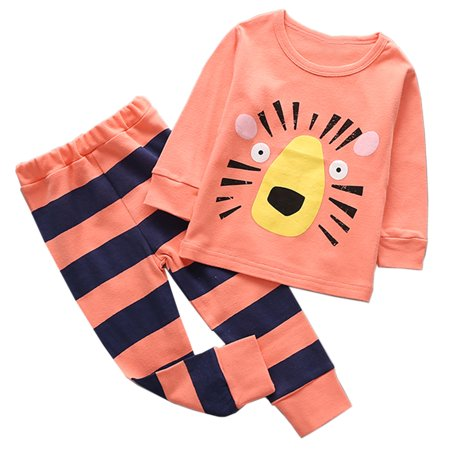 StylesILove Lovely Animal Character Print Long Sleeve Cotton Top and Pants 2 pcs Outfit Set (120/4-5 Years, Peach Tiger) - Lion Outfit