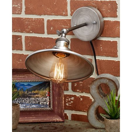 The Lakeside Collection Rustic Metal Wall Lamp - Silver ()