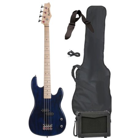 Davison Guitars Electric Bass Guitar Blue Full Size With Amp Strap Case Cord And Picks