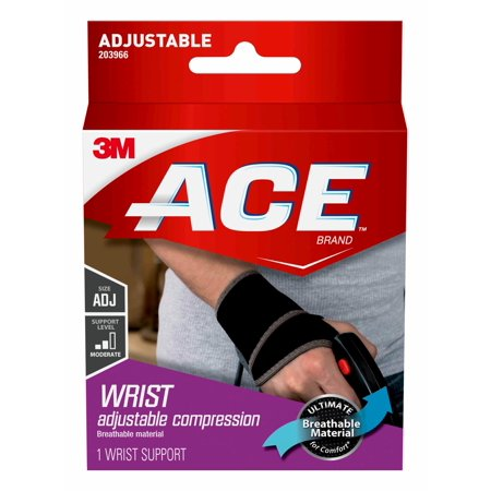 ACE Brand Wrist Support, Adjustable, Black, (Best Wrist Brace For Sleeping)