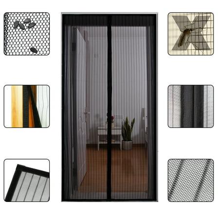 """Gimars Mesh Magnetic Screen Door, Magic Instant Magnet Screen Door Net Curtain, Automatic Bug off Door Screen with Super Strong Velcro and Magnets, Fits Door Size up to 34""""x 82"""", Black"""