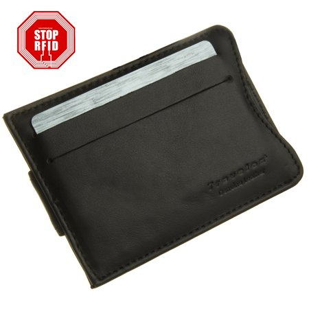 Black Money Clip - Travelon Safe ID Slim Leather RFID Wallet Money Clip Credit Card Blocking Protection Security Slots