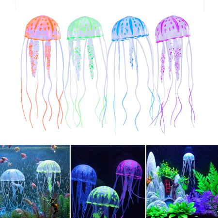 Jellyfish Aquarium Decorations, EEEKit 4-Pack Glowing Effect Artificial Jellyfish Aquarium Decor Fish Tank Ornament, Instant Suction Cup Installation