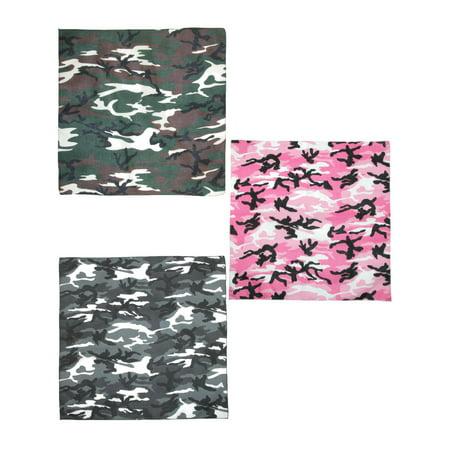CTM®  Urban Hunting Camouflage Bandanas (Pack of 3), -