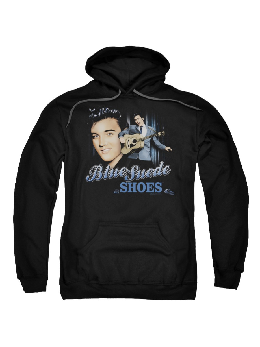 Elvis Presley The King Rock Blue Suede Shoes Adult Pull-Over Hoodie