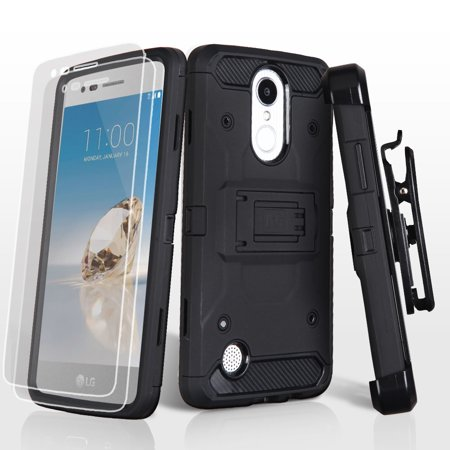 Kaleidio Case For LG Rebel 2 4G LTE L57BL L58VL / Aristo / K8 (2017) [Kinetic Armor] Rugged Holster [Belt Clip] Heavy Duty Shockproof Hybrid [Kickstand] Cover w/ Overbrawn Prying (Rebel Rose)