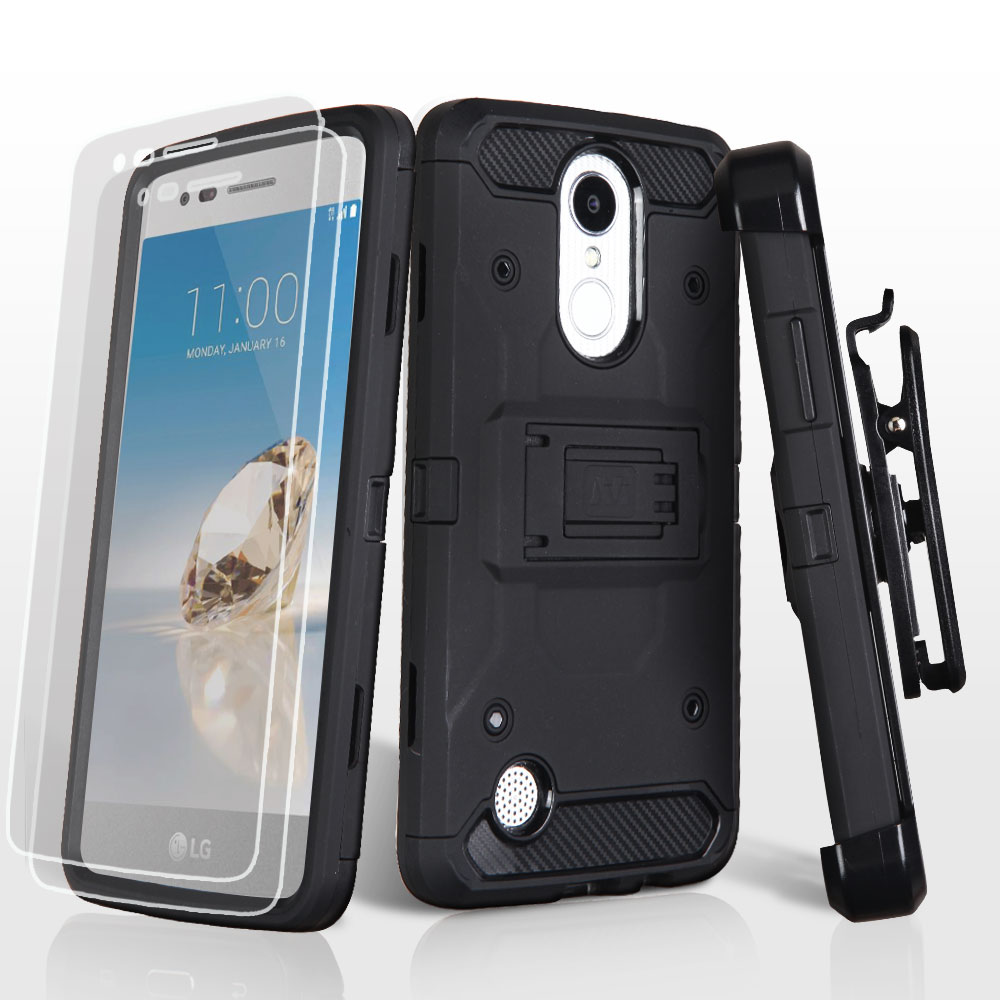 Kaleidio Case For LG Rebel 3 LTE L157BL (TracFone / Straight Talk) [Kinetic Armor] Rugged Holster [Belt Clip] Heavy Duty Shockproof Hybrid [Kickstand] Cover w/ Overbrawn Prying Tool [Black/Black]