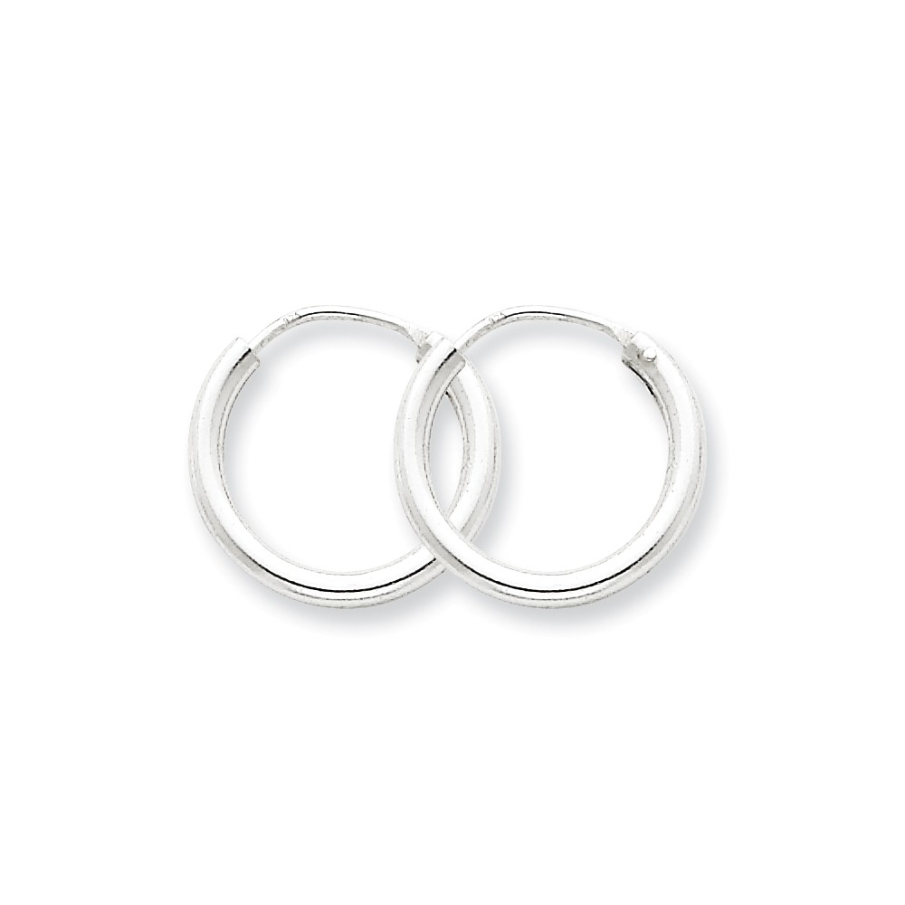 Sterling Silver 2.00mm Endless 0.5IN Hoop Earrings (0.6IN x 0.6IN )