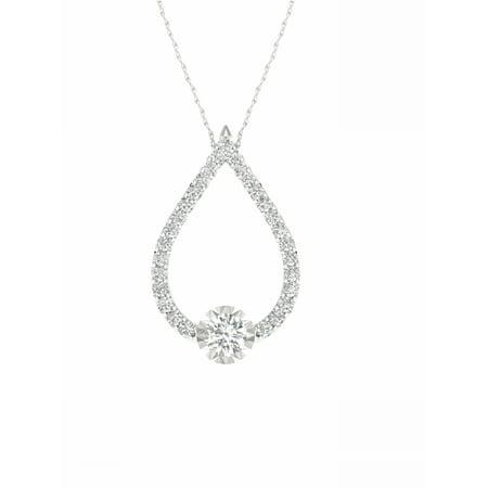 IGI Certified 1/2Ct TDW Diamond 10K White Gold Tear Drop Pendant Necklace (H-I, I2) Diamond Teardrop Pendant Chain