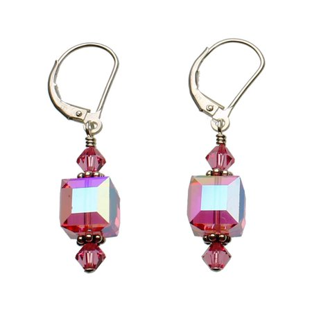 Cube Sterling Silver Earrings - Pink Sterling Silver Leverback Earrings 8mm Cube Made with Swarovski Crystals