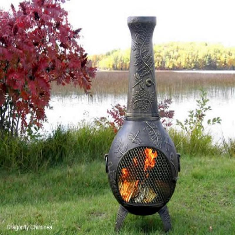 The Blue Rooster Co. Dragonfly Style Cast Aluminum Wood Burning Chiminea in Gold Accent by