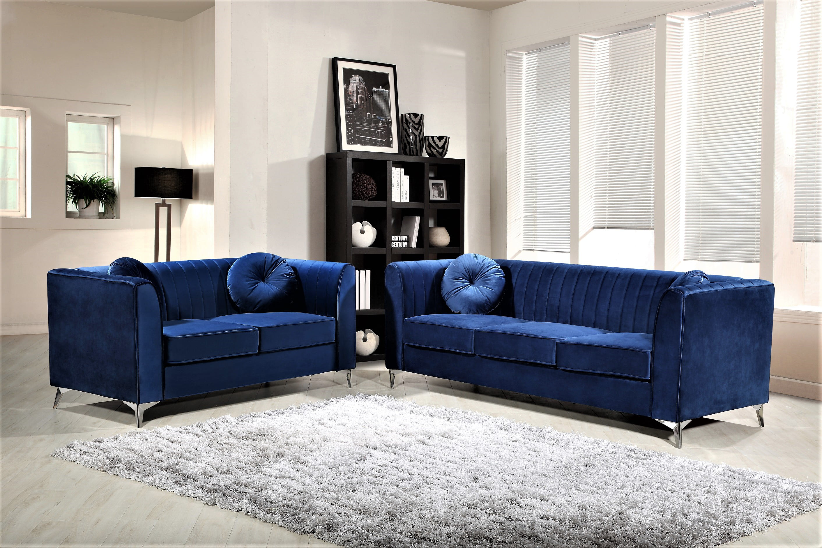 Us pride furniture valak 2 piece velvet living room set blue walmart com