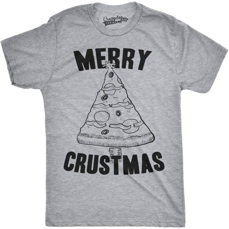 Crazy Dog T-shirts Mens Merry Crustmas Funny Pizza Christmas Tree Holiday T shirt