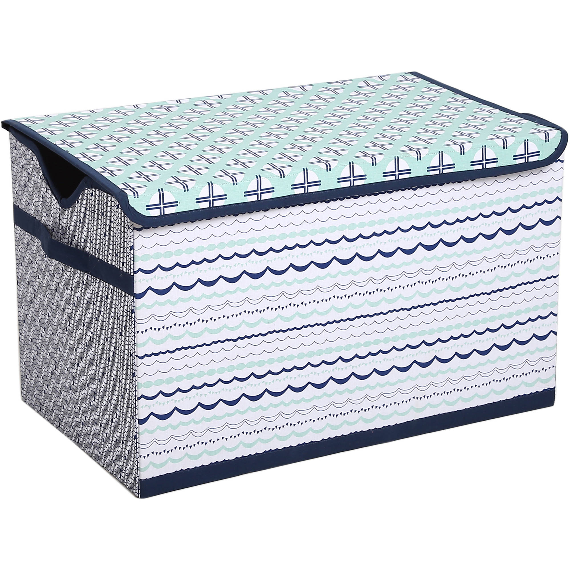 Bacati - Tribal Noah Mint/Navy Cotton Percale Fabric covered Storage, Toy Chest, 24.5 L x 15 W x 14 H inches