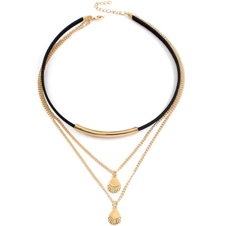 Fancyleo 2019 Newest Fashion Shell Pendant Chain, Bohemian Stylish Beach Choker Necklace Vintage Gold Layered Pendant Necklaces Best Gift for Girls and Women(12.6+2.0 inch (Best Female Snowboarder 2019)