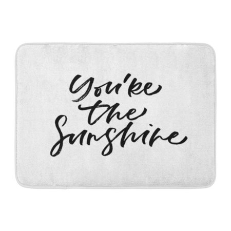 Welcome Phrases Mini - GODPOK Black Valentines You're The Sunshine Valentine's Day Calligraphy Phrases Romantic Modern Lettering White Rug Doormat Bath Mat 23.6x15.7 inch