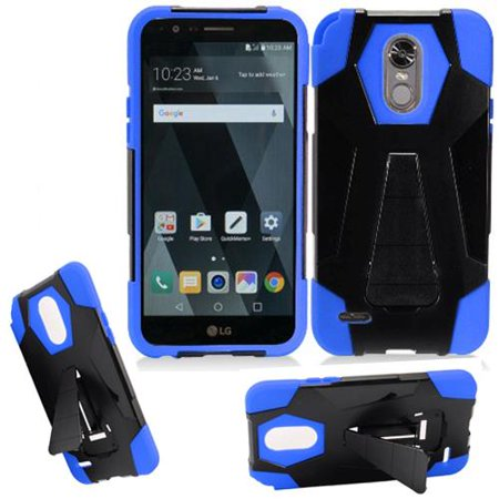 Phone Case for Boost LG Stylo 3 / Stylo3 4g LTE Virgin Mobile LS777 (Wide Stand Black-Blue Corner) ()