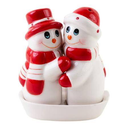 Hugging Snowman and Snowoman Salt and Pepper Shaker Set - Snowman Salt And Pepper Shakers