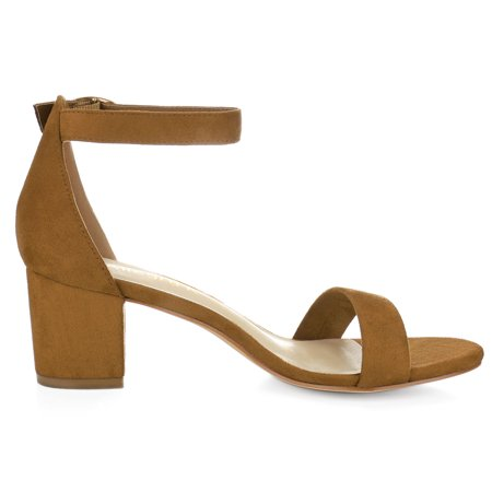 Women Open Toe Mid Block Heel Ankle Strap Sandals Brown US 5 - image 5 of 7