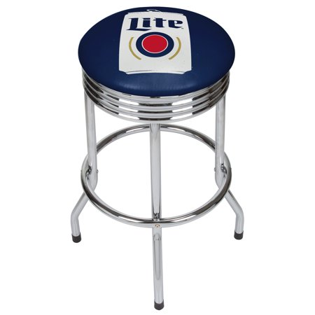 Miller Lite Chrome Ribbed Bar Stool - Minimalist (Cain Kitchen Stool)
