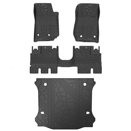 Jeep Wrangler Black Carpet - Floor Mats Compatible for 2014-2018 Jeep Wrangler JK,All Weather Protection 1st, 2nd and 3rd Row Liners Black