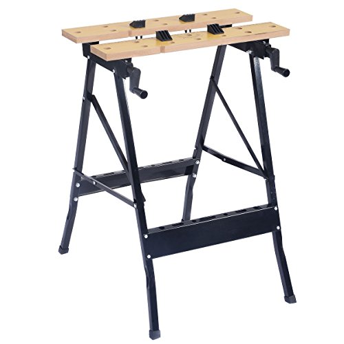 GHP 350-Lbs Capacity Steel Frame Wood Vise Jaws Folding Portable Work Bench Table