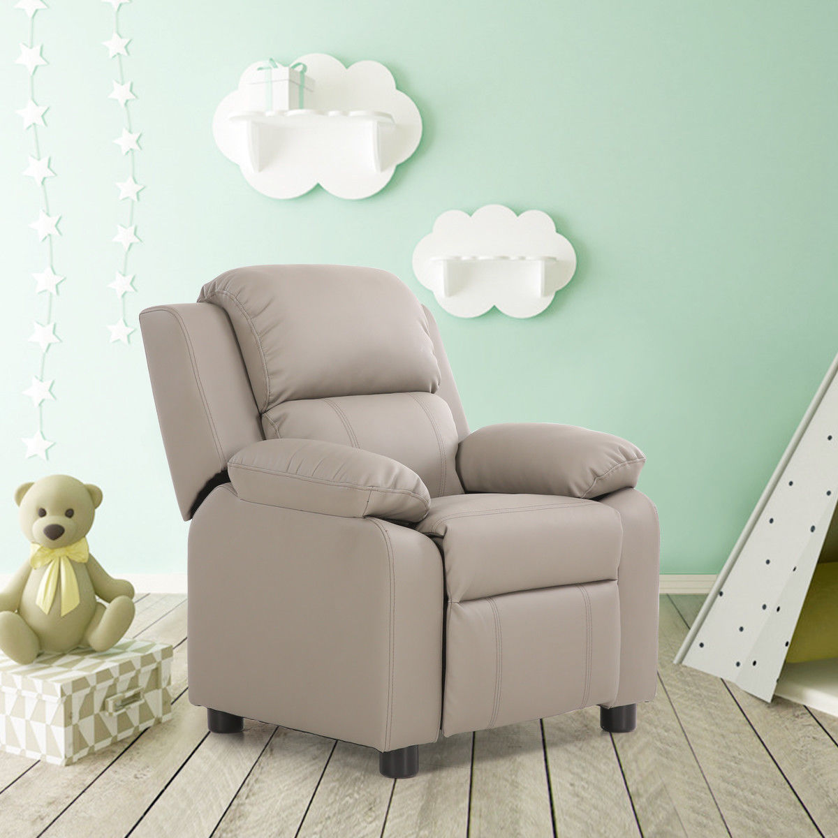 Costway Gray Deluxe Padded Kids Sofa Armchair Recliner Headrest Children w Storage Arms by Costway