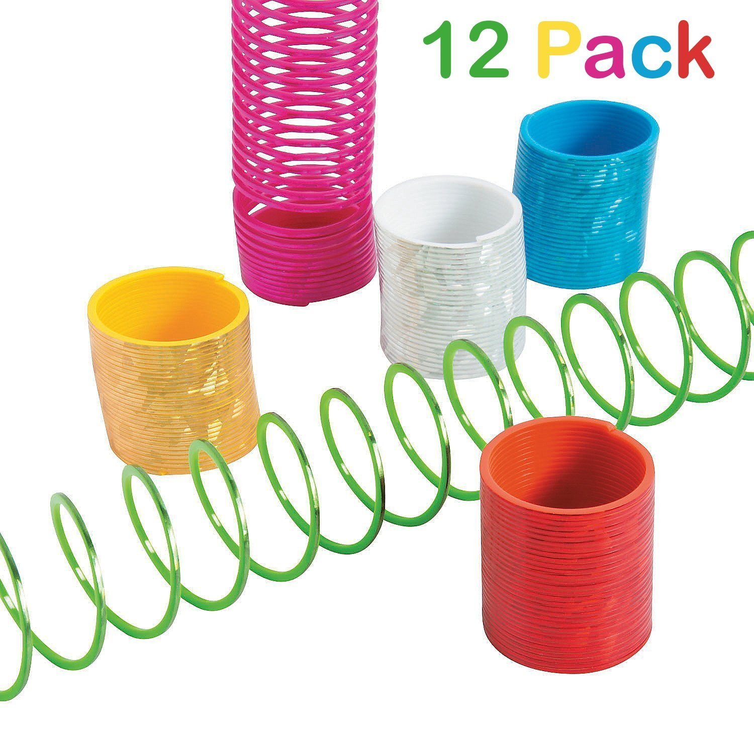 Plastic Mini Prismatic Slinky - Pack Of 12 Assorted Colors Magic Spring