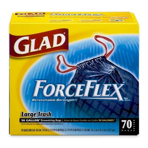Glad ForceFlexPlus Drawstring Trash Bags, 30 Gallon, Choose Your Count