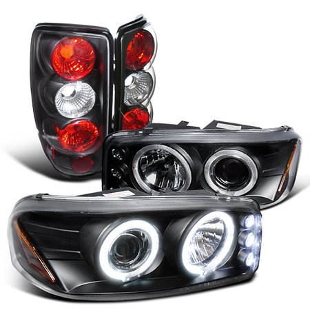 Spec-D Tuning For 2000-2006 GMC Yukon Denali Euro Black Dual Halo Projector Headlights + Tail Lamps (Left + Right) 2000 2001 2002 2003 2004 2005