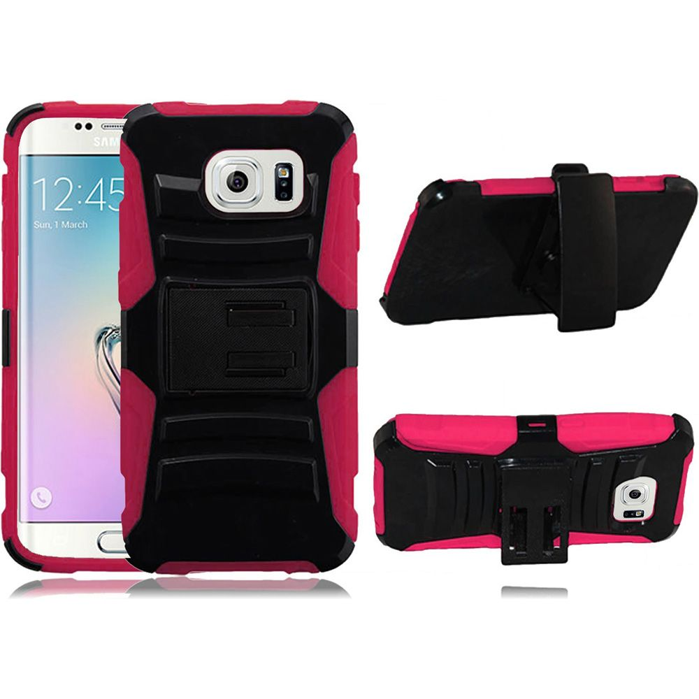 For Samsung G925 S6 Edge Case - Hybrid Phone Cover Side Kickstand With Holster Clip - Black+Hot Pink