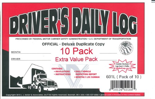 J.J. Keller 601L Driver's Daily Log Book with Simplified DVIR, 2-Ply Book Format, w Carbon, w Recap, 8-1... by J. J. Keller