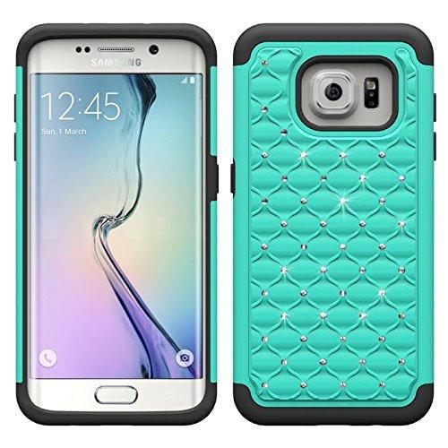 Samsung Galaxy S6 Edge Case, Crystal Rhinestone Slim Hybrid Dual Layer Case for Galaxy S6 Edge - Teal/Black
