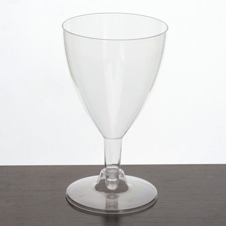 Efavormart 60 Pcs - Clear Classic  Disposable Plastic Wine Glass for Wedding Birthday Party Banquet Events Cocktail Cups
