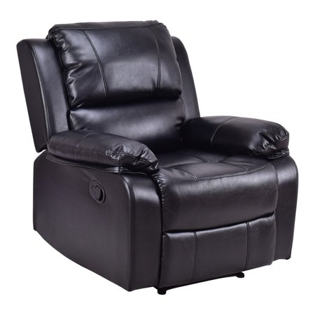 Pu Leather Padded Reclining Manual Recliner Lounge Chair   Coffee